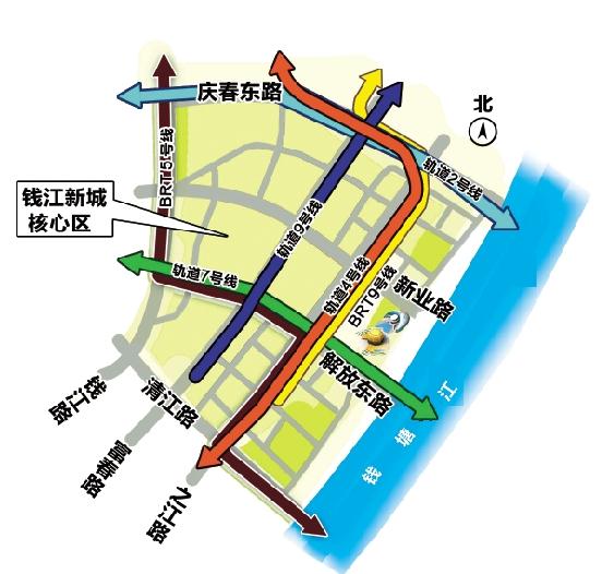 浙江 杭州钱江新城交通规划给道路瘦身为公交让道
