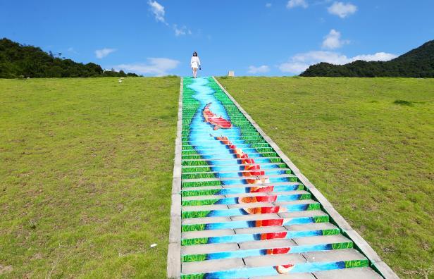 安吉:3D画梯道扮靓水库环境