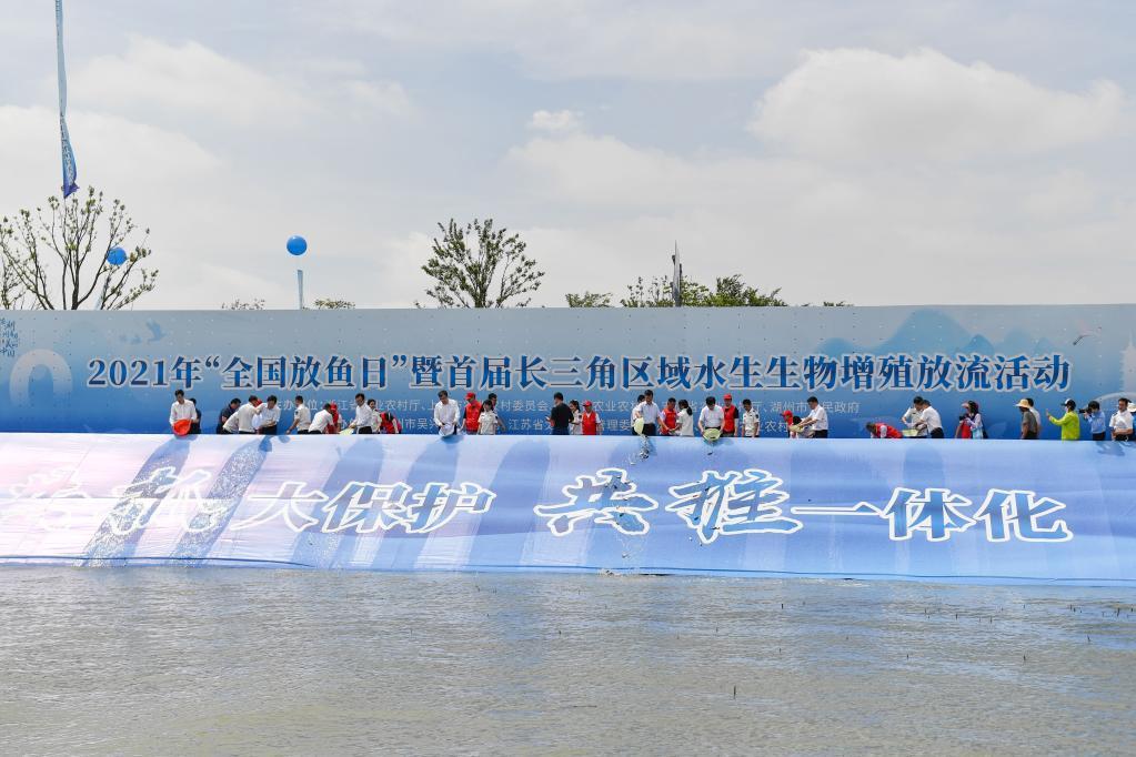 首届长三角区域水生生物增殖放流活动在浙江湖州举行